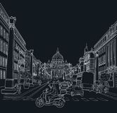 Эскиз улицы Рима Стоковая Фотография RF