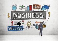 Эскиз успеха в бизнесе чертежа человека Стоковые Фото
