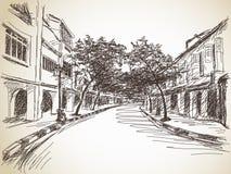 Эскиз улицы городка Стоковая Фотография RF