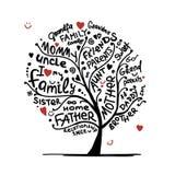 Эскиз фамильного дерев дерева для вашего дизайна Стоковое Изображение RF