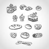Эскиз хлебопекарни и хлеба Иллюстрация штока