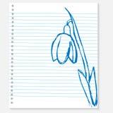 Эскиз цветка на листе тетради Стоковое Изображение