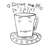 Эскиз чашки чаю на поддоннике Стоковая Фотография