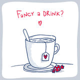 Эскиз чашки чаю Стоковое фото RF