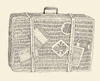 Эскиз чемодана выгравированный багажом ретро нарисованный рукой иллюстрация вектора