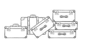 Эскиз чемоданов иллюстрация штока