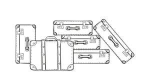 Эскиз чемоданов иллюстрация вектора