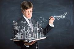 Эскиз чертежа бизнесмена Стоковые Фотографии RF