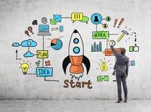 Эскиз чертежа человека startup на стене Стоковая Фотография RF