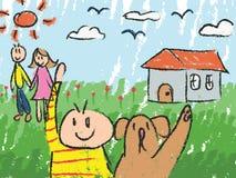 Эскиз чертежа doodle цвета детей детского сада иллюстрация штока