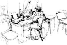 Эскиз человека в офисе работая на компьютере Стоковое фото RF