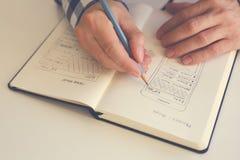 Эскиз человека делая эскиз к графический в офисе Стоковые Фото