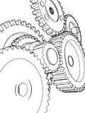 эскиз шестерен Стоковое Изображение RF