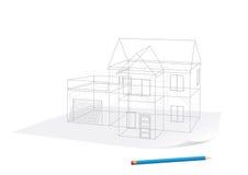 эскиз дома бумажный Стоковое Изображение RF