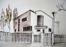 эскиз 5 домов Стоковые Фотографии RF
