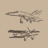 Эскиз Airplaine Иллюстрация нарисованная рукой для вашего дизайна Стоковое Фото