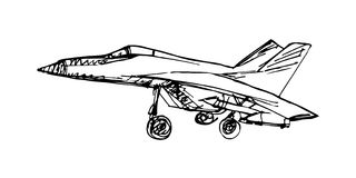 Эскиз Airplaine Иллюстрация нарисованная рукой для вашего дизайна Стоковое Изображение RF