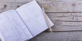 Эскиз app бумаги эскиза плана Стоковая Фотография RF