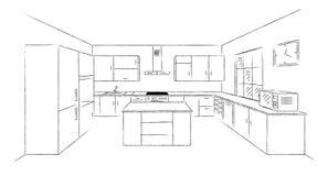 Эскиз 3d кухни Стоковые Фотографии RF