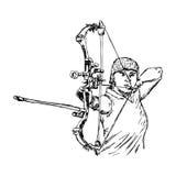 Эскиз doodle вектора иллюстрации нарисованный рукой женского лучника спорта Стоковое Изображение