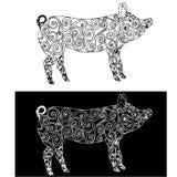 Эскиз doodle завихряется свинья Monochrome животноводческой фермы стоковая фотография rf