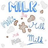 Эскиз doodle молока, комплект вектора Стоковое Фото