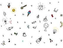 Эскиз doodle символов, комплект вектора Стоковое Фото