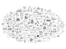 Эскиз doodle собрания Infographics нарисованный рукой Стоковое Изображение RF
