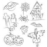 эскиз halloween установленный иллюстрация вектора