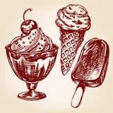 Эскиз llustration вектора мороженого установленной нарисованный рукой Стоковая Фотография RF