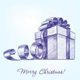 Эскиз llustration вектора подарочной коробки нарисованный рукой Стоковая Фотография