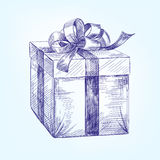 Эскиз llustration вектора подарочной коробки нарисованный рукой Стоковые Изображения