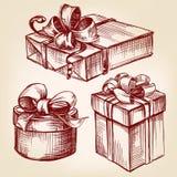 Эскиз llustration вектора подарочной коробки установленной нарисованный рукой Стоковые Изображения RF