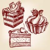 Эскиз llustration вектора фаст-фуда тортов установленной нарисованный рукой Стоковые Фотографии RF
