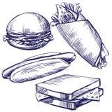 Эскиз llustration вектора фаст-фуда установленной нарисованный рукой Стоковая Фотография RF