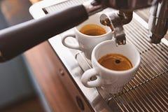 Эспрессо утра в керамических чашках Стоковое Изображение