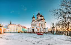 эстония tallinn Взгляд утра собора Александра Nevsky известно стоковые изображения rf