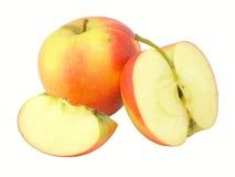 этапы отрезока яблока стоковое фото