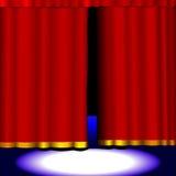 этап красного цвета занавеса Стоковое Фото