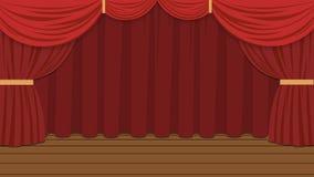 Этап мультфильма с красным закрытым занавесом бесплатная иллюстрация