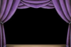 этап пурпура занавеса Стоковое Фото