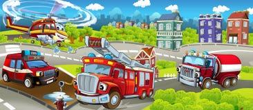 Этап шаржа с различными машинами для сцены firefighting - красочной и жизнерадостной иллюстрация вектора