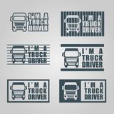 Этикета водителя грузовика притяжки руки Стоковое Изображение RF