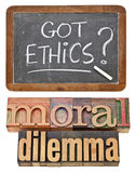 этики получили вопрос Стоковое Фото