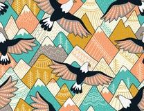 Этническая безшовная картина с с горами и орлами Яркая орнаментальная предпосылка вектора Стоковая Фотография