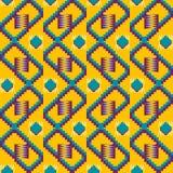 Этническая безшовная картина Ткань Kente Племенная печать иллюстрация вектора