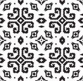 Этническая геометрическая картина в черно-белых цветах иллюстрация вектора