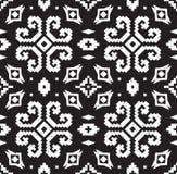 Этническая геометрическая картина в черно-белых цветах иллюстрация штока