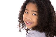 Этническая девушка на белой предпосылке Стоковая Фотография