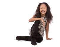 Этническая девушка на белой предпосылке Стоковое Фото